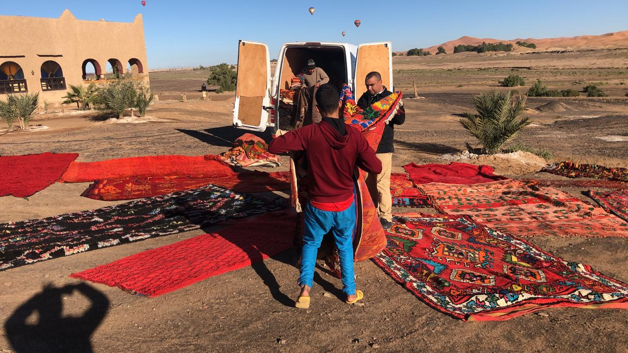 buying carpets for Tiziri Camp